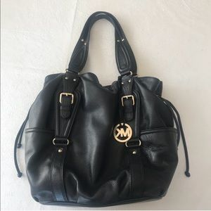 Michael Kors Black Leather Shoulder Bag Purse 👜